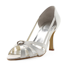 Top Quality Satin Upper High Heel Sandals With Rhinestone Wedding Bridal Shoes