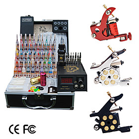 3 Tattoo Guns Kit with LCD Power and 40 Color Ink