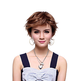 Capless Short Top Grade Quality Synthetic Brown Natural Wave Wig
