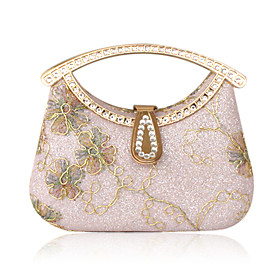 Satin With Rhinestone/ Glitter Evening Handbags/ Clutches/ Top Handle Bags More Colors Available
