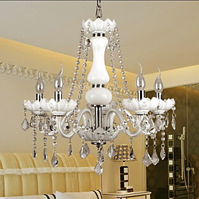 Elegant Crystal Chandelier with 5 Lights in White