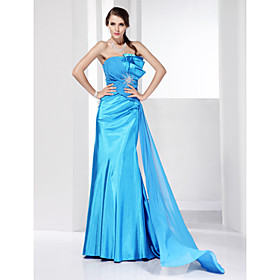 Trumpet/ Mermaid Strapless Sweep/ Brush Train Elastic Woven Satin Evening Dress