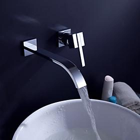 Contemporary Brass Waterfall Bathroom Sink Faucet (Wall Mount)