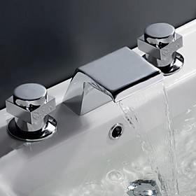 Contemporary Waterfall Bathroom Sink Faucet (Chrome Finish, Widespread)