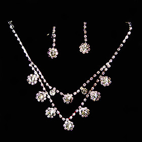 Clear Rhinestone-925 Silver Necklace- Earrings Jewelry Set