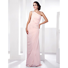 Sheath/ Column One Shoulder Floor-length Side-Draped Chiffon Evening Dress