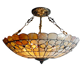Tiffany Style Pendant Light with 3 Lights - Floral Patterned