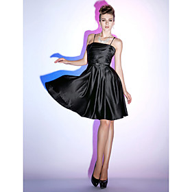 A-line Spaghetti Straps Knee-length Satin Cocktail Dress