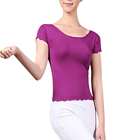 Ballroom Dacewear Rayon Practice Short Sleeve Yoga Dance Sneakers T-shirt For Ladies More Colors