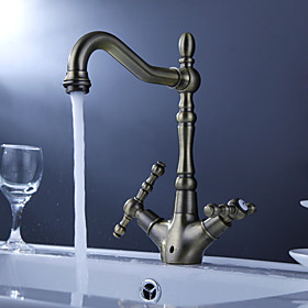 Antique Inspired Solid Brass Kitchen Faucet (Antique Brass Finish)