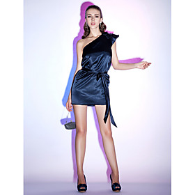 Sheath/ Column One Shoulder Short/ Mini Elastic Silk-like Satin Cocktail Dress