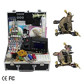 2 handgefertigte Damaskus Tattoo Waffen-Kit mit LCD-Stromversorgung und 46 farbige Tinte