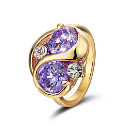 Shining Cubic Zirconia 18K Gold Plated Ring More Colors Available