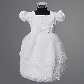 Ball Gown/ Princess Square Knee-length Satin/ Tulle With Bow/ Lace Flower Girl Dress