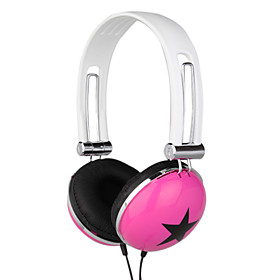 3.5mm Stereo Five-star Fashion Headphone(Black White Pink)