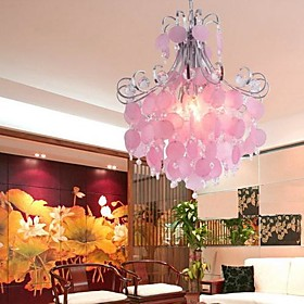 Elegant Crystal Chandelier with 4 Lights in Pink