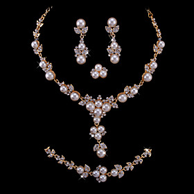 Gorgeous Imitation Pearls/ Cubic Zirconia Wedding Bridal Jewelry Set Including Necklace Bracelet Ring And Earrings