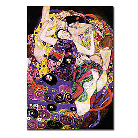 Hand-painted People Oil Painting by Gustav Klimt with Stretched Frame