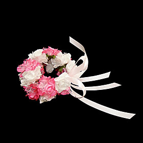 Lovely White With Fuchsia Satin Flower Wedding Flower Girl Wrist Flower
