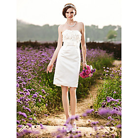 Sheath/ Column Strapless Knee-length Satin Wedding Dress