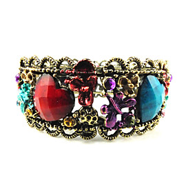 Ladies' Heart Shape Rhinestone Bangles   Cuffs In Gold Alloy
