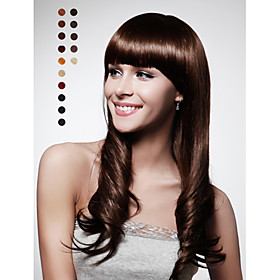 Capless Fashion Wave Hair Wig With Bang 15 Colors To Choose
