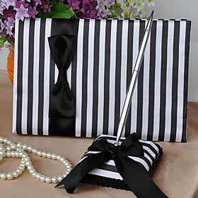Black White Stripe Guest Book and Pen Set