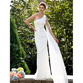 Trumpet/ Mermaid One Shoulder Sweep/ Brush Train Lace Wedding Dress