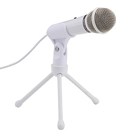 3.5mm PodCast/Audio Production Stereo Microphone with Tripod  2.5m Cable (White)