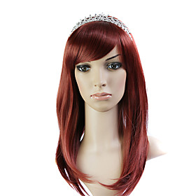 Capless Burgundy 100% Japanese Kanekalon Fiber Beautiful Curly Long Hair Wig