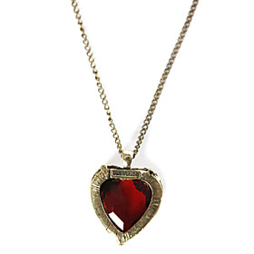 TS Alloy Red Heart Pendant Necklace