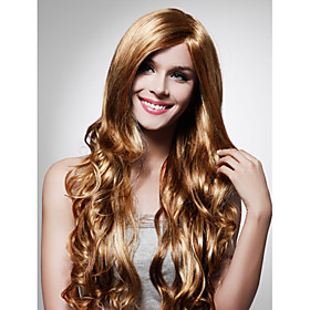 Capless Extra Long High Quality Synthetic Golden Brown Curly Hair Wig 0463-455