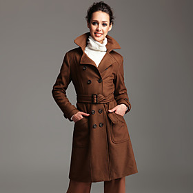 TS Double Breasted Wool Blend Long Pea Coat