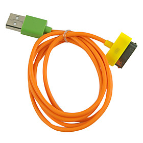 Sync and Charging Cable for iPhone, iPad and iPod Touch (100cm/Orange Cable with Colorful Connectors