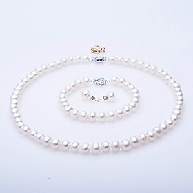 Elegant AA Freshwater Pearl Jewelry Set, Including Necklace, Bracelet And Earrings