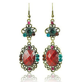 Antique Bronze-plated Large Gem Earring