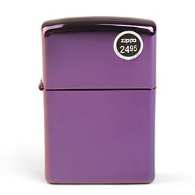 Genuine Zippo Copper Oil Lighter - Abyss Logo (Purple)