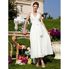 A-line Halter Tea-length Taffeta Wedding Dress