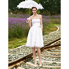 A-line Strapless Knee-length Satin Wedding Dress