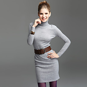 TS Turtle Neck Long Sleeve Jersey Cashmere Dress(4 Colors)