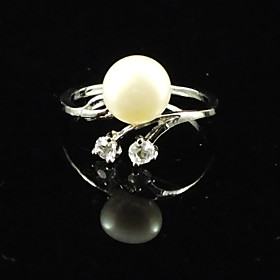 Gorgeous Fresh Water Pearl/ Zircon With Alloy Plated Adjustable Ring