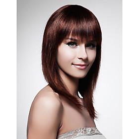 Capless Long 100% Human Hair Brown Straight Hair Wig