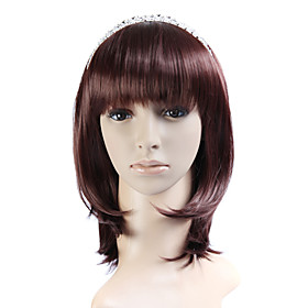 Capless Chocolate 100% Japanese Kanekalon Fiber Beautiful Curly Shoulder Hair Wig