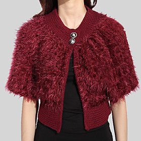 Half-Sleeve Feather/Fur/ Sweater With Botton Party/ Office Jacket/ Wrap