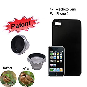 4x Telephoto Lens with Protective Back Case for iPhone 4