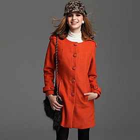 TS Wool Blend Military Round-neck Mid-length Coat