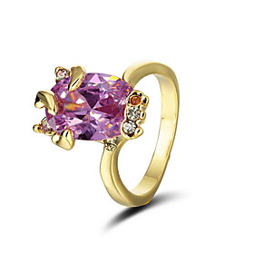Fashion Cubic Zirconia With 18K Gold Plated Ring More Colors Available