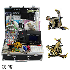 2 Handmade Damascus Tattoo Guns Kit with LCD Power Supply and 46 Color Ink   Free Ink