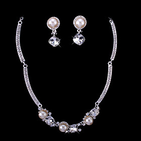 Gorgeous Rhinestones/ Imitation Pearls With Alloy Plated Wedding Bridal Jewelry Set Including Necklace And Earrings