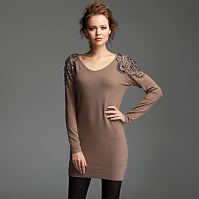 TS Hand-made Beaded V-neck Sweater Dress